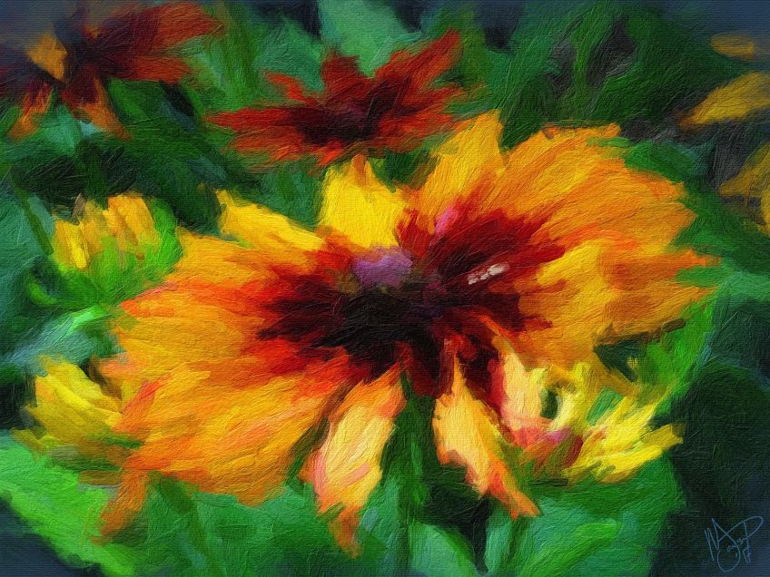Brookside Gardens - Rudbeckia 1a - Oil Painting - Hand Signed