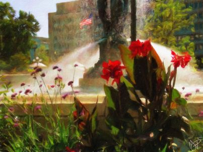 DC - Botanical Gardens - Fountain 1a - Oil Painting - Hand Signed