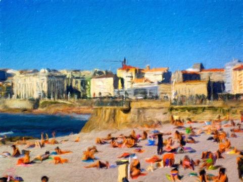 Spain - Coruña Beach - Oil Painting - Hand Signed